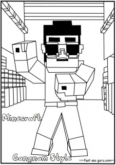 Printable minecraft gangnam style coloring page for kids