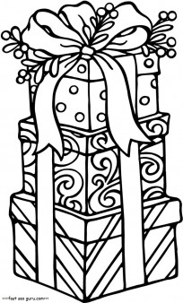 Printable christmas gifts coloring pages for kids