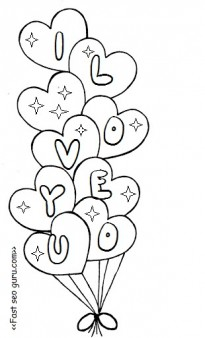 Printable valentine heart balloons coloring pages