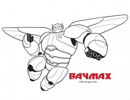 Printable big hero 6 baymax coloring pages