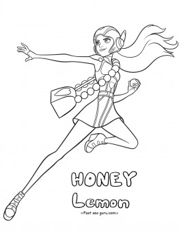 Printable big hero 6 characters honey lemon coloring pages