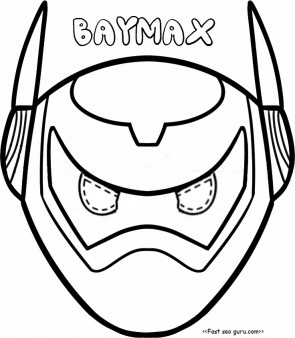 Printable big hero 6 baymax armor mask coloring pages cut out