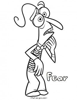 Printable inside out Fear coloring pages for kids
