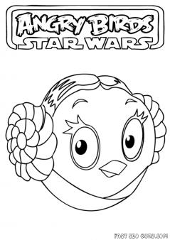 Printable Angry Birds Star Wars Princess Leia Coloring Page