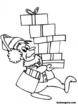 Coloring pages of Christmas Elf Gifts and Presents