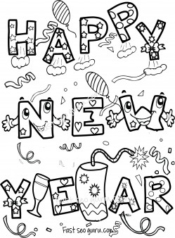 Happy new year coloring sheets for kids