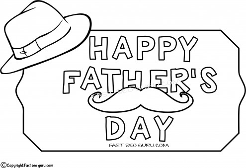 Printable father day hat coloring pages for kids