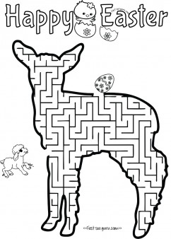 Print out easter mazes puzzles lamb to find the eggs worksheet