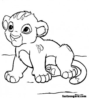 Disney Characters Coloring pages Young Simba cartoon
