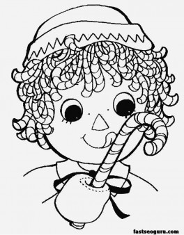 Girl eating Christmas candy canes coloring pages
