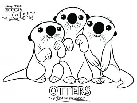 Printables cartoon finding dory otters coloring page