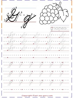 cursive handwriting practice worksheets letter g for grapes