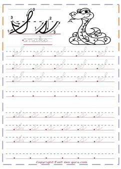 cursive handwriting tracing worksheets letter s for snake