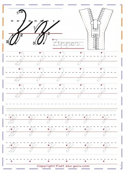 cursive handwriting tracing worksheets letter z for Zipper