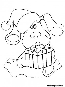 Print out coloring pages bear christmas present
