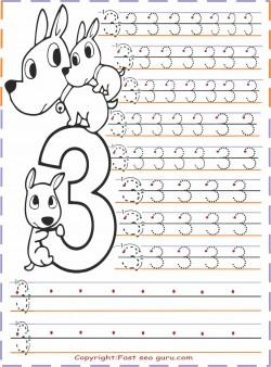 kindergarten number 3 tracing worksheets