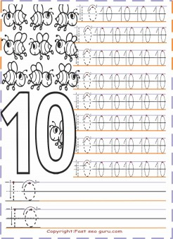 Numbers tracing worksheets 10 for preschool