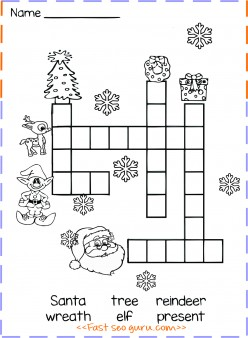 christmas word crossword puzzle for kids