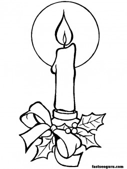 Printable coloring pages of Christmas Candles