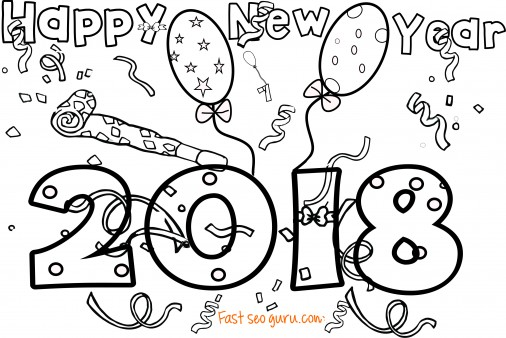 New Years 2018 coloring page for kids