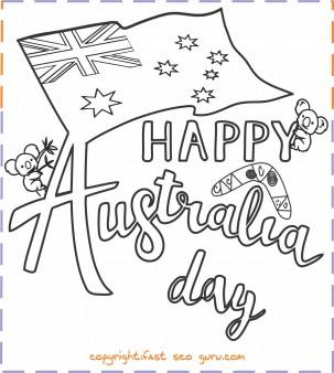 happy australia day colouring card