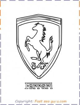 Printable car ferrari logo coloring page