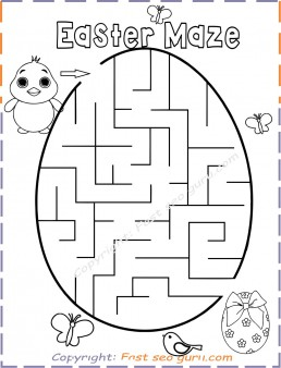 Easter maze easy printable for kids