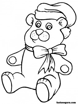 Printable coloring pages of Christmas Toys Bear