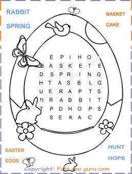Easy easter word search printable for kids