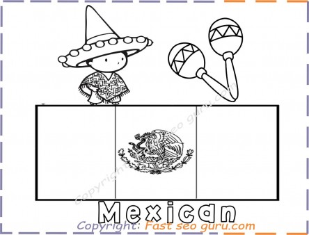 Free coloring page Mexican flag