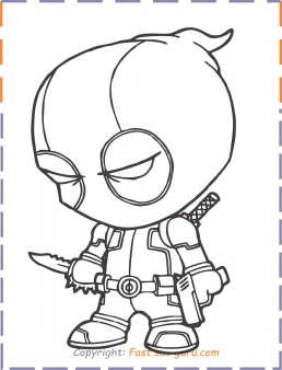 Deadpool baby coloring pages to print