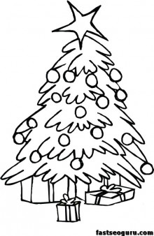 Printable coloring pages of Christmas Trees with face