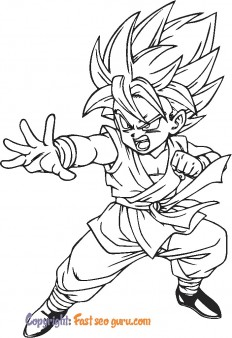picture to color son goku dragon ball z