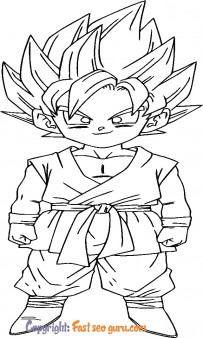 Son Goku dragon ball z coloring in pages
