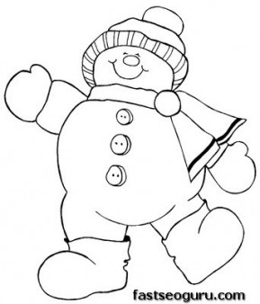 Christmas Happy Snowman coloring page