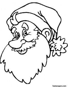 Print out of Christmas Santa face coloring