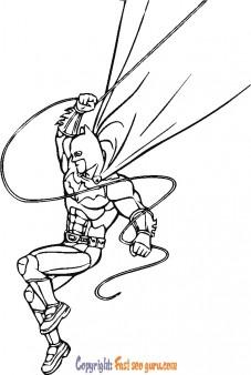 color batman cartoon drawing to print