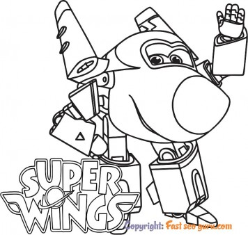 Picture to color Super Wings Jerome printable