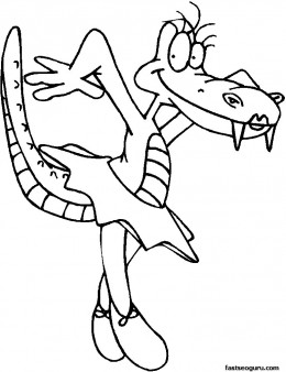 Dancing Alligator online kids coloring pages for kids