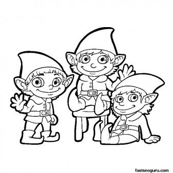 Elf waves to children coloring pages print out