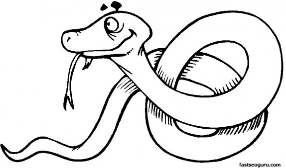 Free Coloring pages of jungle Snake printable