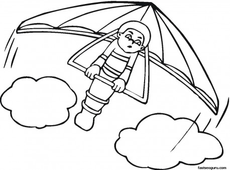 Kids coloring pages hang glider print out