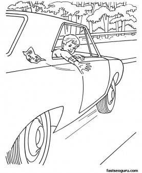 Boy in car coloring pages sheets print out