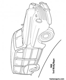 Coloring pages Ford woody Wagon 1946 coloring pages