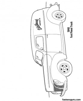 Ford panel Truck coloring pages printable for kids