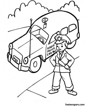 Police car child policeman coloring pages printable