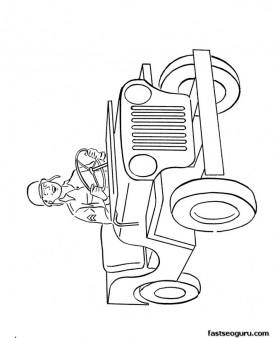 Print out army jeep coloring page for kids
