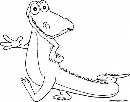 Print out coloring pages  for kids Happy Alligator