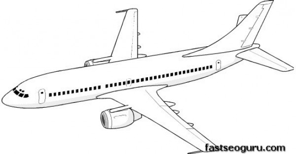Print out coloring pages for kids Jet Airplane