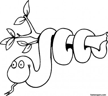 Free Print out coloring pages of jungle Snake On Branch
